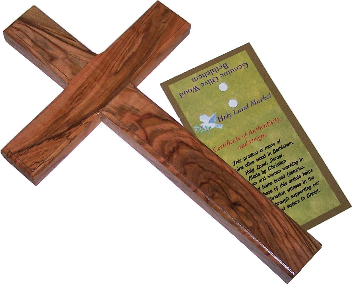 Holy Land Market Olive Wood Cross (9 to 10 inches High)