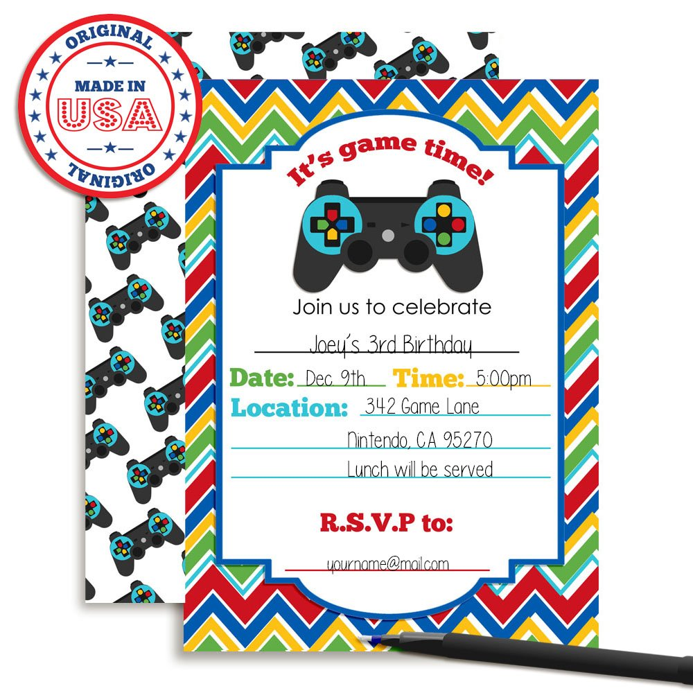 Amazon.com: Game Time! Video Gamer Birthday Party Fill In ...