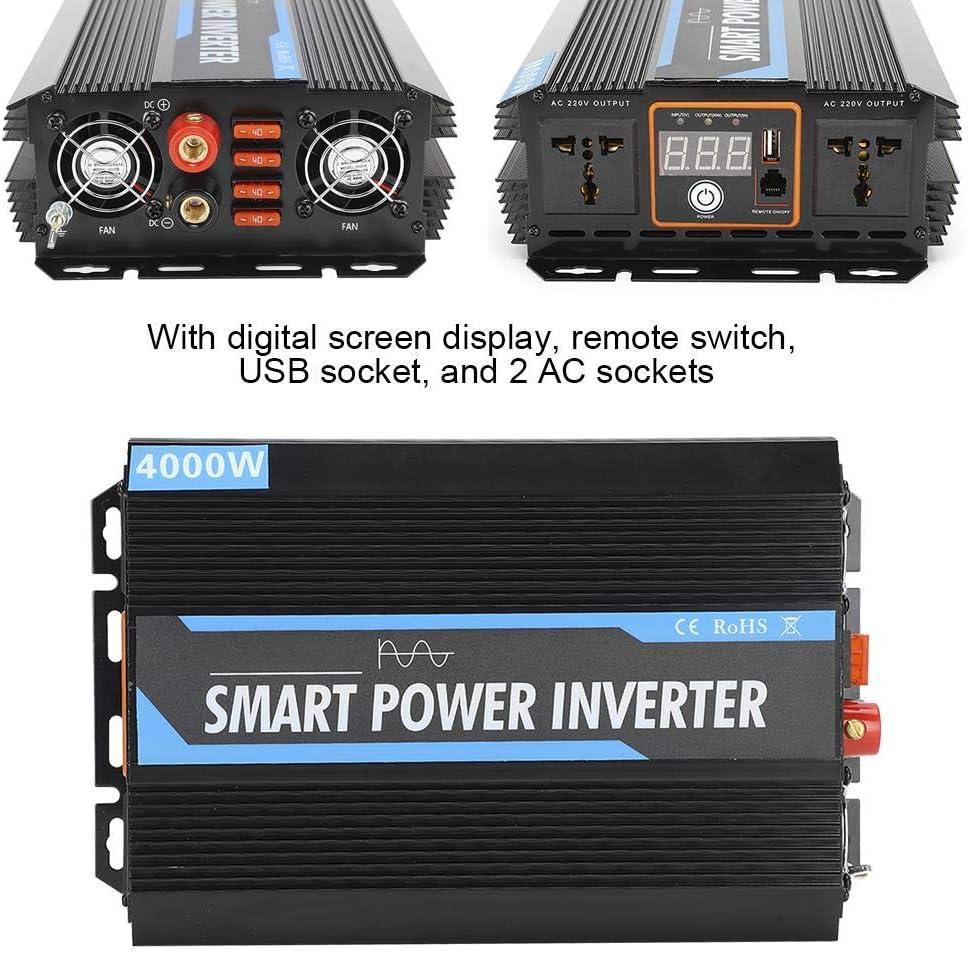 12V a 220V 4000W Transformador de voltaje de inversor de energ/ía de onda sinusoidal pura Universal para autom/óvil Yctze Convertidor de energ/ía