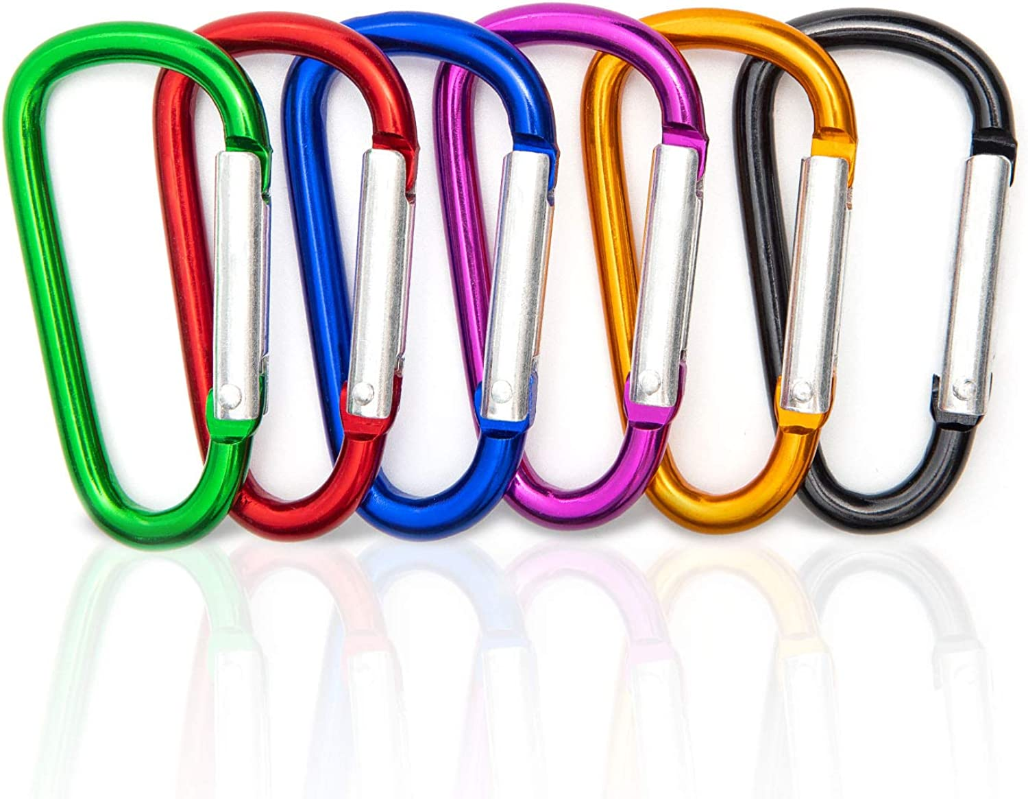 6 Pcs Carabiner Clip, Shellvcase Aluminum Keychain Clip, 2.4'' D-Ring Small Carabiner Keychain Belt Clip, Buckle Pack Spring Snap Hook for Outdoor Home RV Camping Fishing Hiking Traveling Backpack