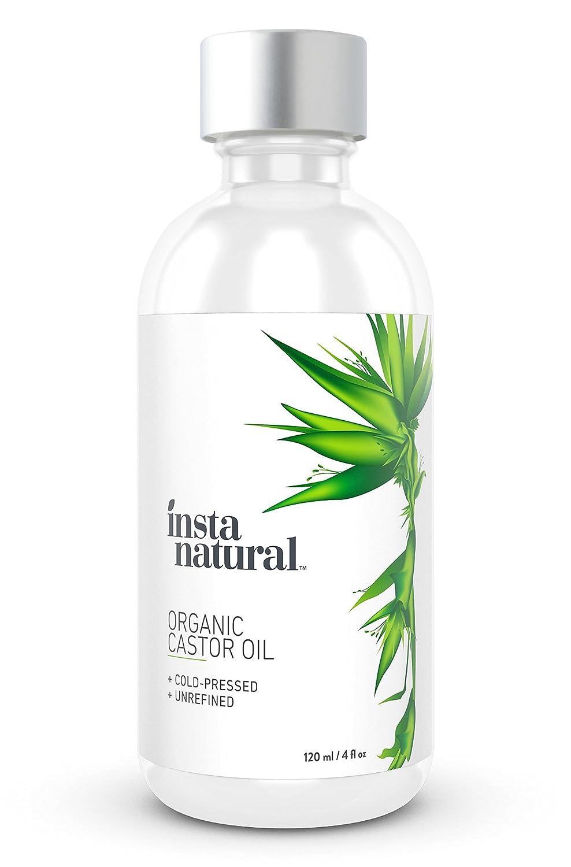 Aceite de ricino InstaNatural, 100 % puro y orgánico, certificado, para pelo, rostro, piel y uñas, el mejor hidratante prensado en frío sin refinar, ...
