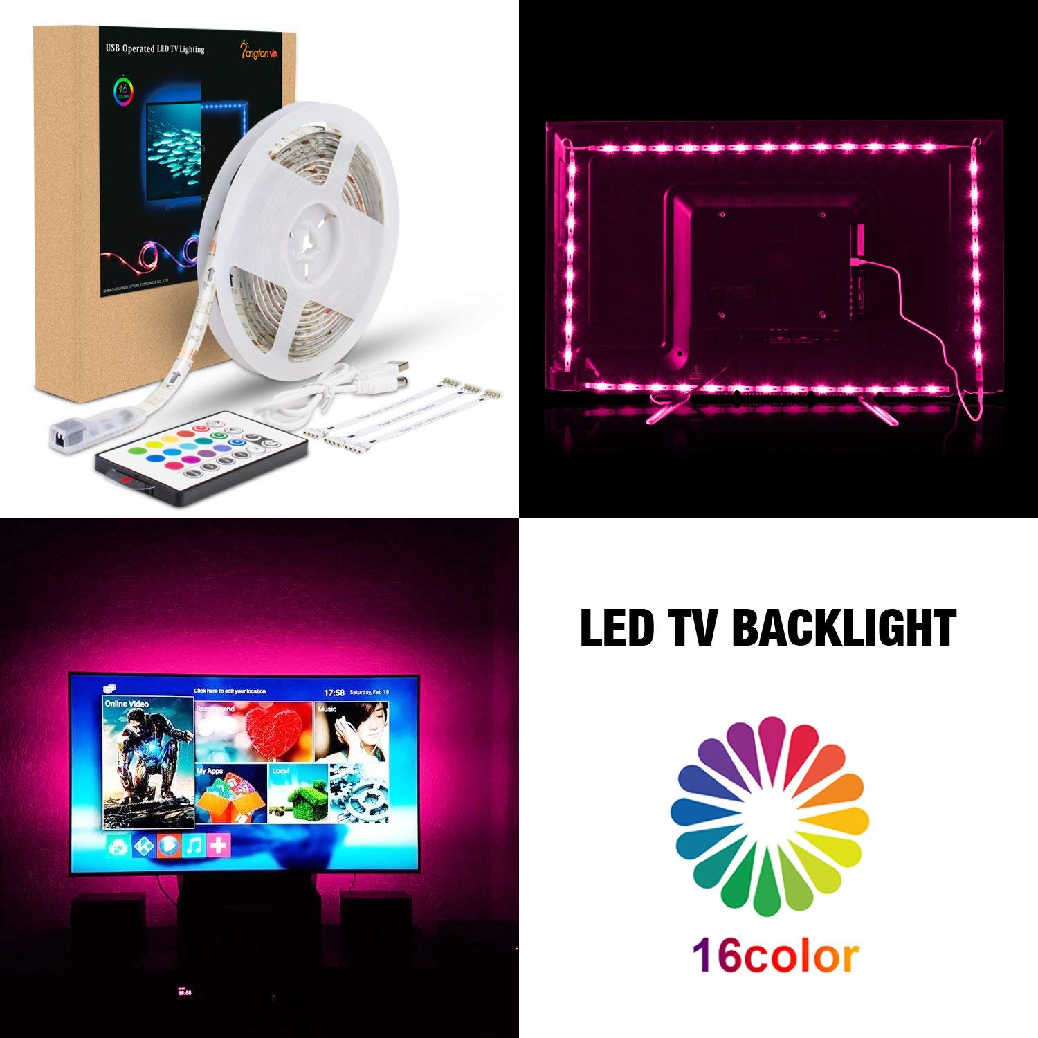 PANGTON VILLA Custom-Made TV Backlight kit for 48 to 50 Inches - 5050 Led Strips USB Powered with Remote Control - HDTV RGB Bias Lighting