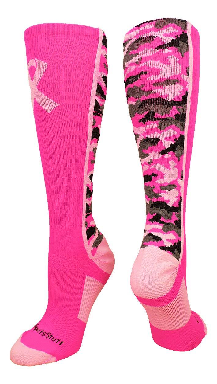 MadSportsStuff Pink Ribbon Awareness Camo OTC Socks (Neon Pink/Pale Pink, X-Large)