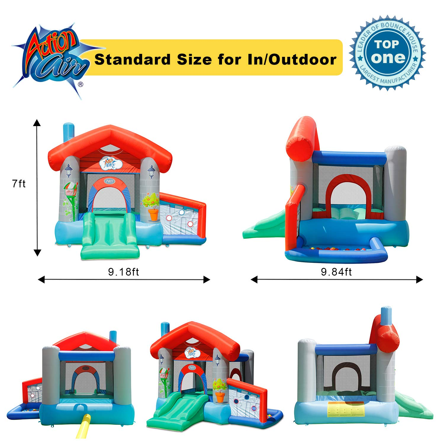 ACTION AIR Bounce House, Air Bouncer with 30 Ball, Inflatable Bouncer with Air Blower, Jumping Castle with Slide, for Outdoor and Indoor, Durable Sewn with Extra Thick Material, Idea for Kids by ACTION AIR (Image #6)