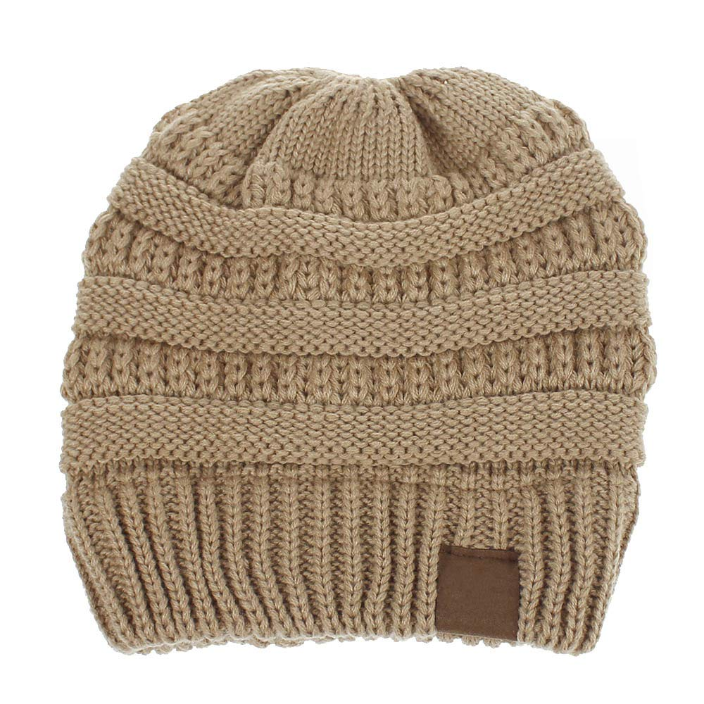 a5a16eb2a08 Amazon.com  Women and Girl s BeanieTail Soft Stretch Cable Knit Messy High  Bun Ponytail Beanie Hat (Adult Beige)  Clothing