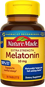 Nature Made Extra Strength Melatonin 10 mg Tablets, Sleep Aid Supplement 70 Count