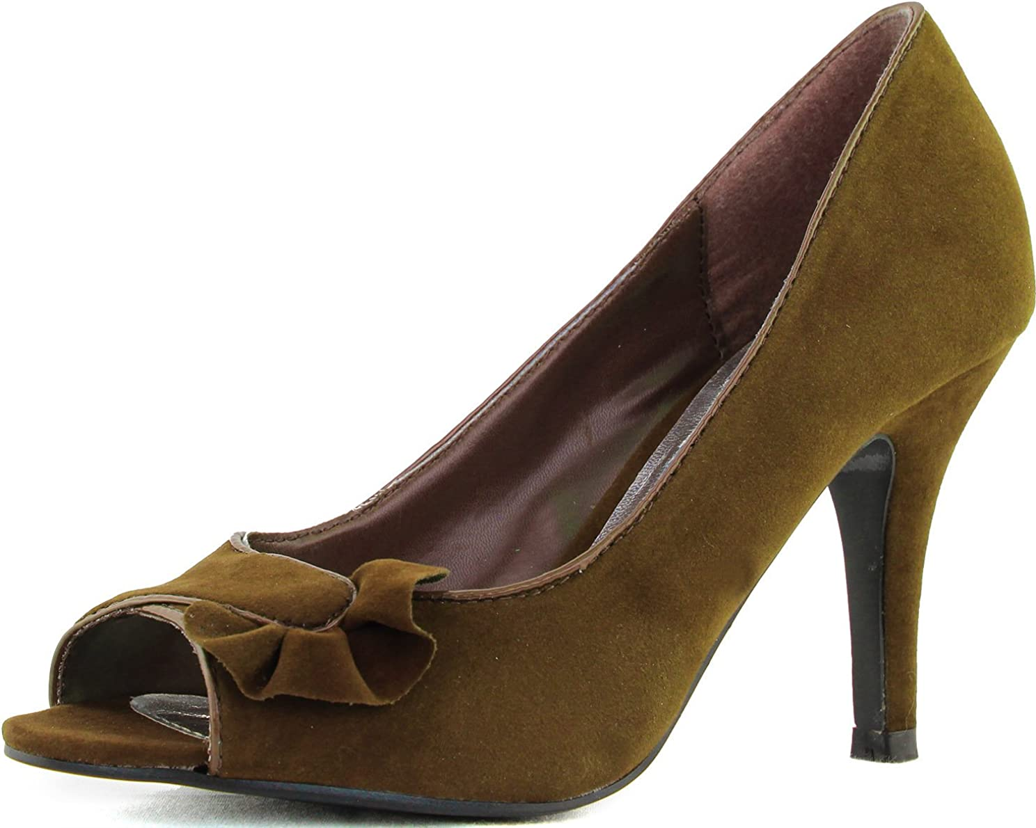 Qupid Women's High Heel Peep Toe Pumps Office Lady Work Interview Sexy Sandal Fashion Shoes