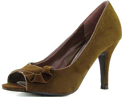 b1fee681b19 Qupid Women s Orbits-33 Camel Suede Peep Toe Pumps Shoes