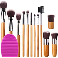BEAKEY Premium Makeup Brush Set, Durable Bamboo Handle Brushes Synthetic Kabuki Foundation Blending Eyeshadow Concealer…