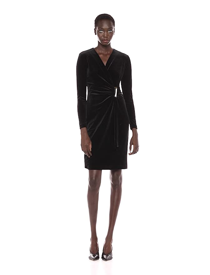 30986409305f4 Calvin Klein Women s Velvet Long Sleeve Faux Wrap Dress at Amazon Women s  Clothing store