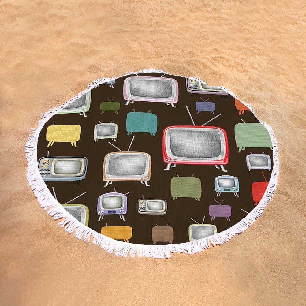 Pixels Round Beach Towel With Tassels featuring ''retro TV pattern '' by Setsiri Silapasuwanchai