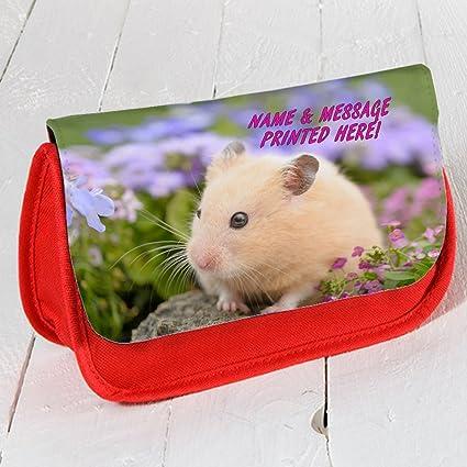 Personalizado Cute Hamster st034 Rojo Estuche Escolar ...