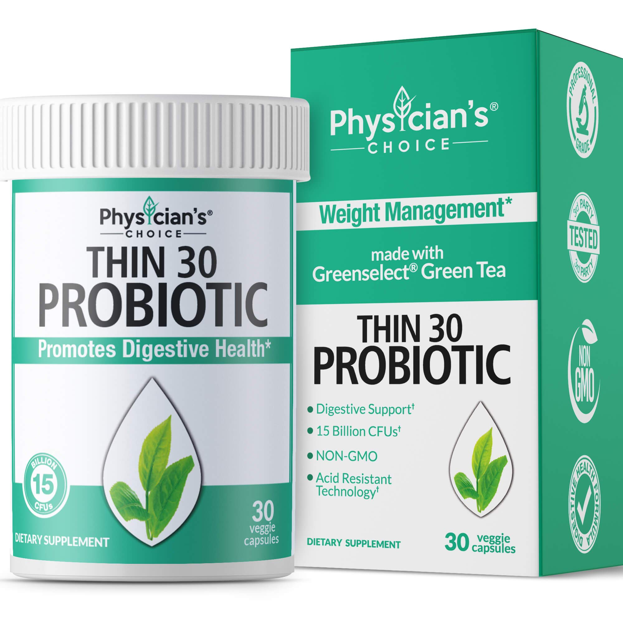 Probiotics for Women - Detox Cleanse & Weight Loss - Clinically Proven Greenselect- Organic Prebiotics, Digestive Enzymes, Apple Cider Vinegar & Green Tea Extract - Shelf Stable - 30 Capsules by Physician's CHOICE