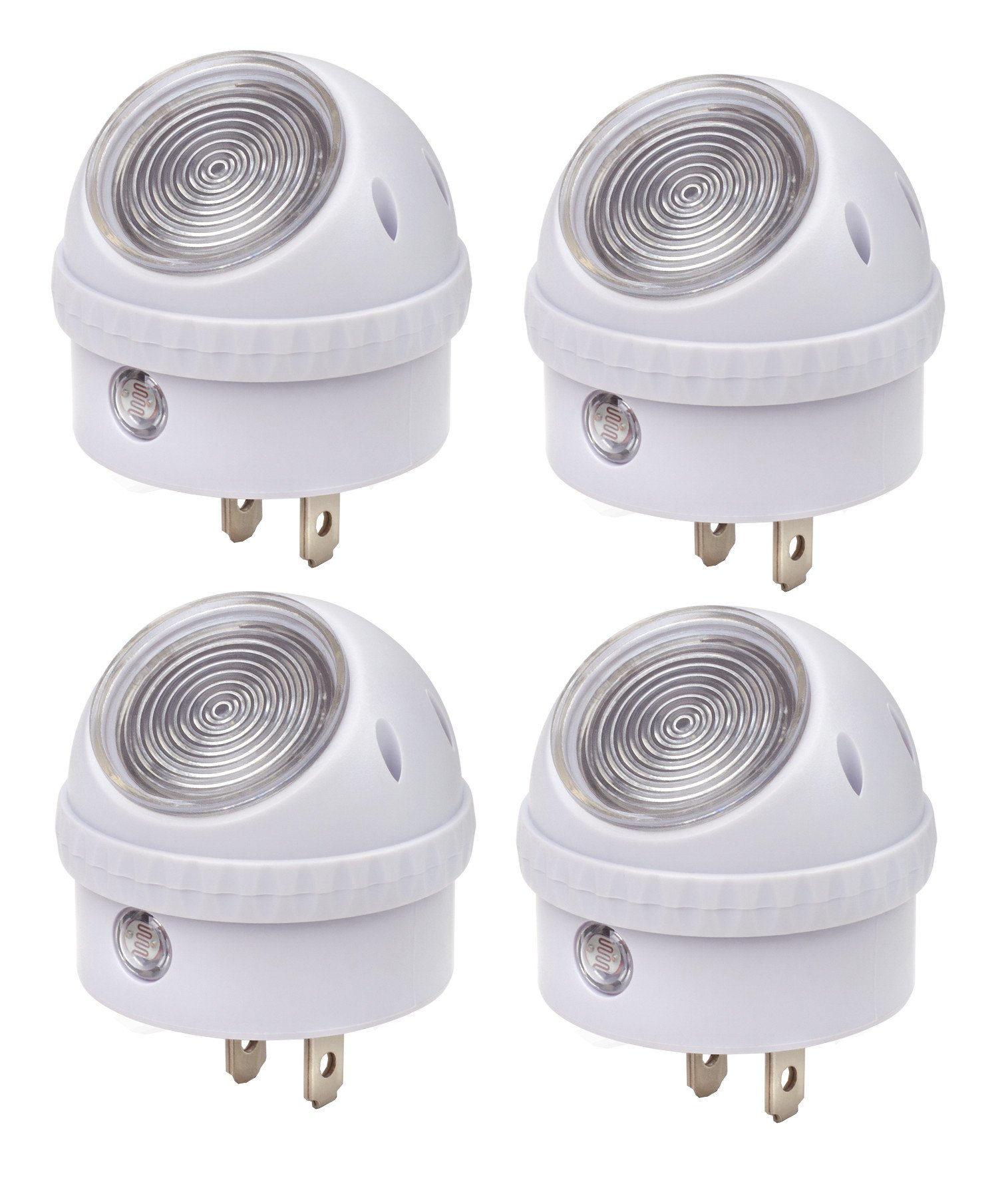 LED Night Light Lamp 4 Pieces Set, 360 Degree Rotating Head with Sensor Auto ON At Dusk, Auto OFF At Dawn for Seniors Bedroom Bathroom Kitchen Hallway Kids Baby Nursery By Perfect Life Ideas