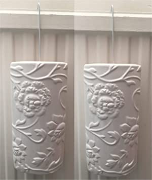2 x White Flower Embossed Design Ceramic Radiator Hanging Humidifier Air  Purifier with S Hook