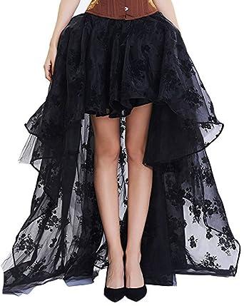 KUOSE, Falda de Encaje Estilo gótico Vintage para Mujer, Color ...