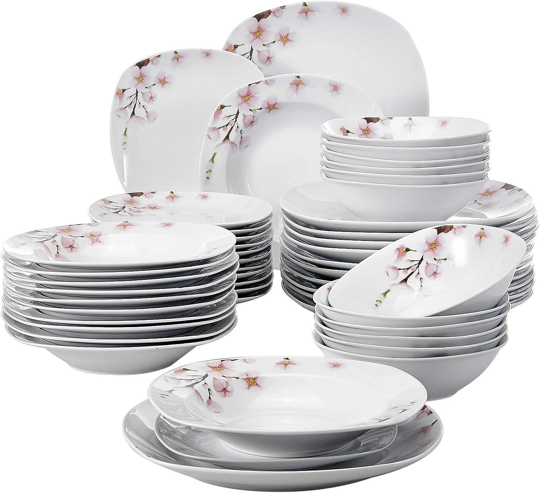 48 Piezas Vajillas de Porcelana