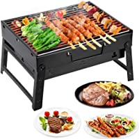 Mbuynow Grill Barbecue Carbone Griglia Barbecue per 4-6 Persone Cottura alla Brace Ottima Griglia Trasportabile per Cuocere Carne Pesce Verdure Pane Bruschettato ECC