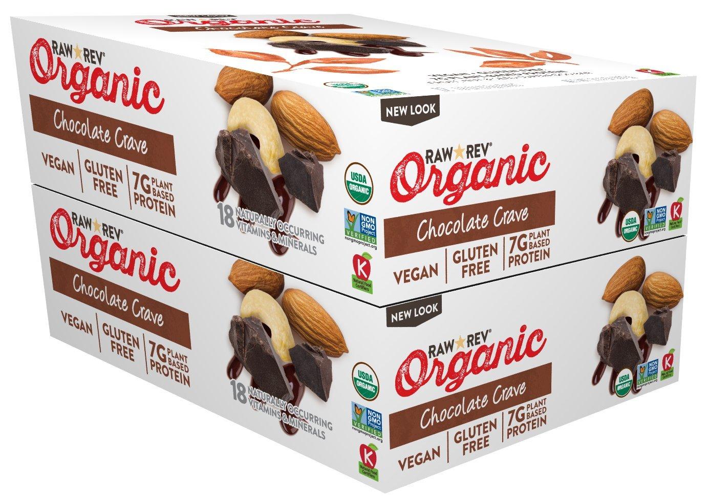 Raw Rev Organic Vegan, Gluten-Free Fruit, Nut, Seed Bars - Chocolate Crave 1.8 ounce (Pack of 24)