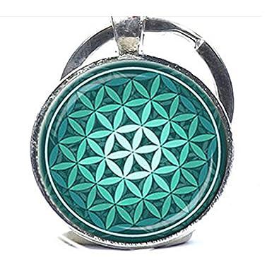 diysdlridrr De la Flor de la Vida Llavero Verde Aqua Espiritual Llavero Inspirational Llavero con la geometría Sagrada Meditación Clave Anillo