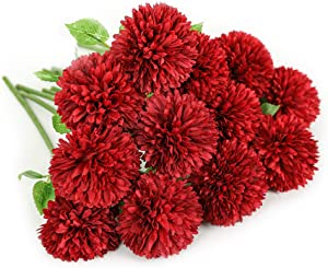 Floweroyal 12pcs Artificial Chrysanthemum Ball Flowers Silk Hydrangea Bridal Wedding Bouquet for Home Garden Party Office Coffee House Decoration (Red).