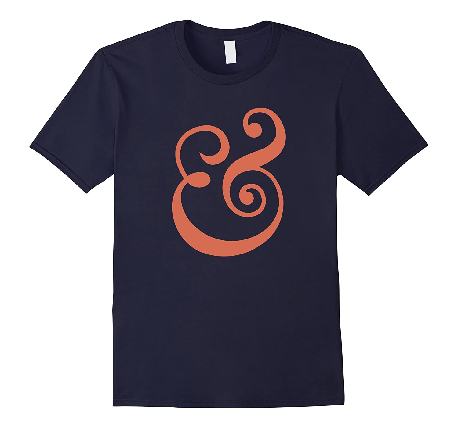 Ampersand Script Lettering Orange Graphic T-Shirt-Vaci
