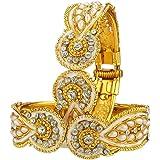 Zeneme Antique style Gold Plated Kada bangle For Women