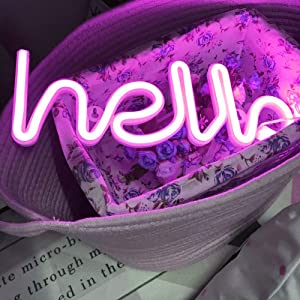 Hello Neon Light Signs LED Neon Word Sign Neon Letters Light Art Decorative Lights Wall Decor for Children Baby Room Hose Bar Recreational Wedding Party Decoration (Pink Hello)