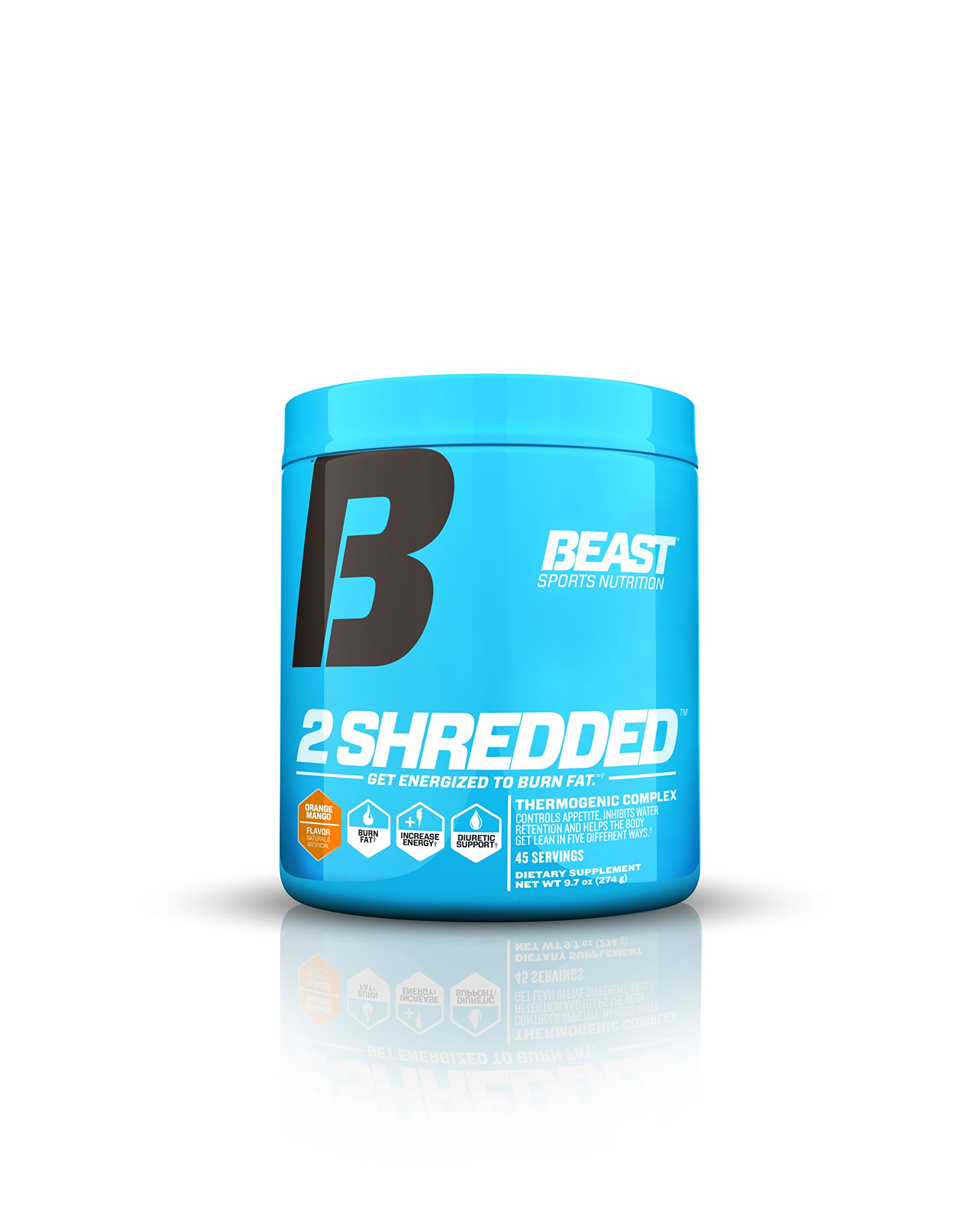 Beast Sports Nutrition 2 Shredded: Thermogenic Powder, Metabolism Booster, and Appetite Suppressant | Best Fat Burner Drink for Weight Loss and Reduced Water Retention, Orange Mango, 45 Servings