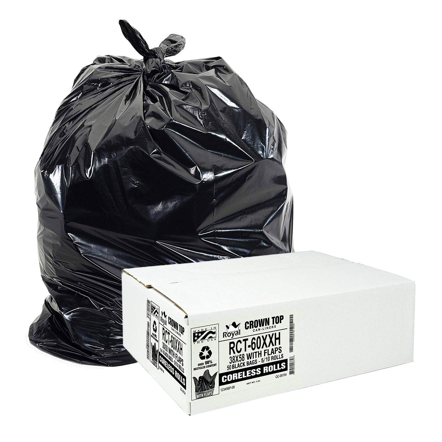 55 Gallon Trash Bags Heavy Duty - (Huge 50 Pack) - 2.0 MIL Thick (equiv) - 38