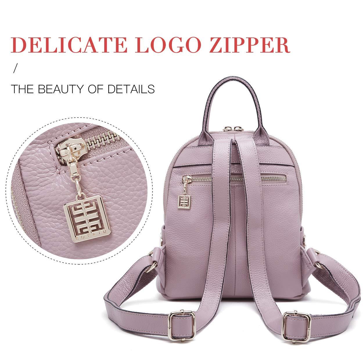 BOYATU Genuine Leather Backpack Purse for Women Fashion Rucksack Mini Daypack(Black)