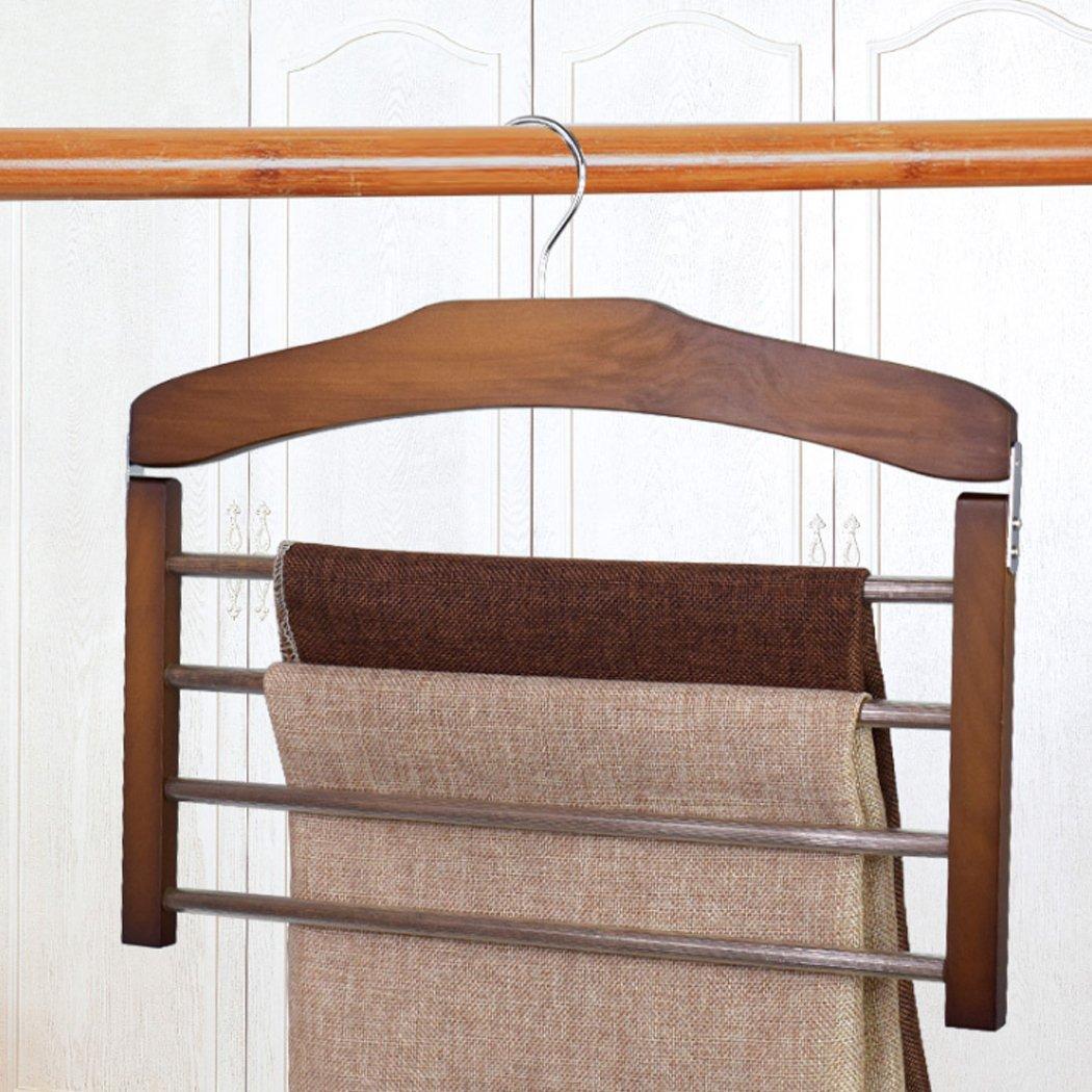 Malayas Wooden Non Slip 4 Tier Trouser Hanger Space Saving Clothes Rack Organizer for Pants Towels Scarfs Crease-Resist KRW LTD