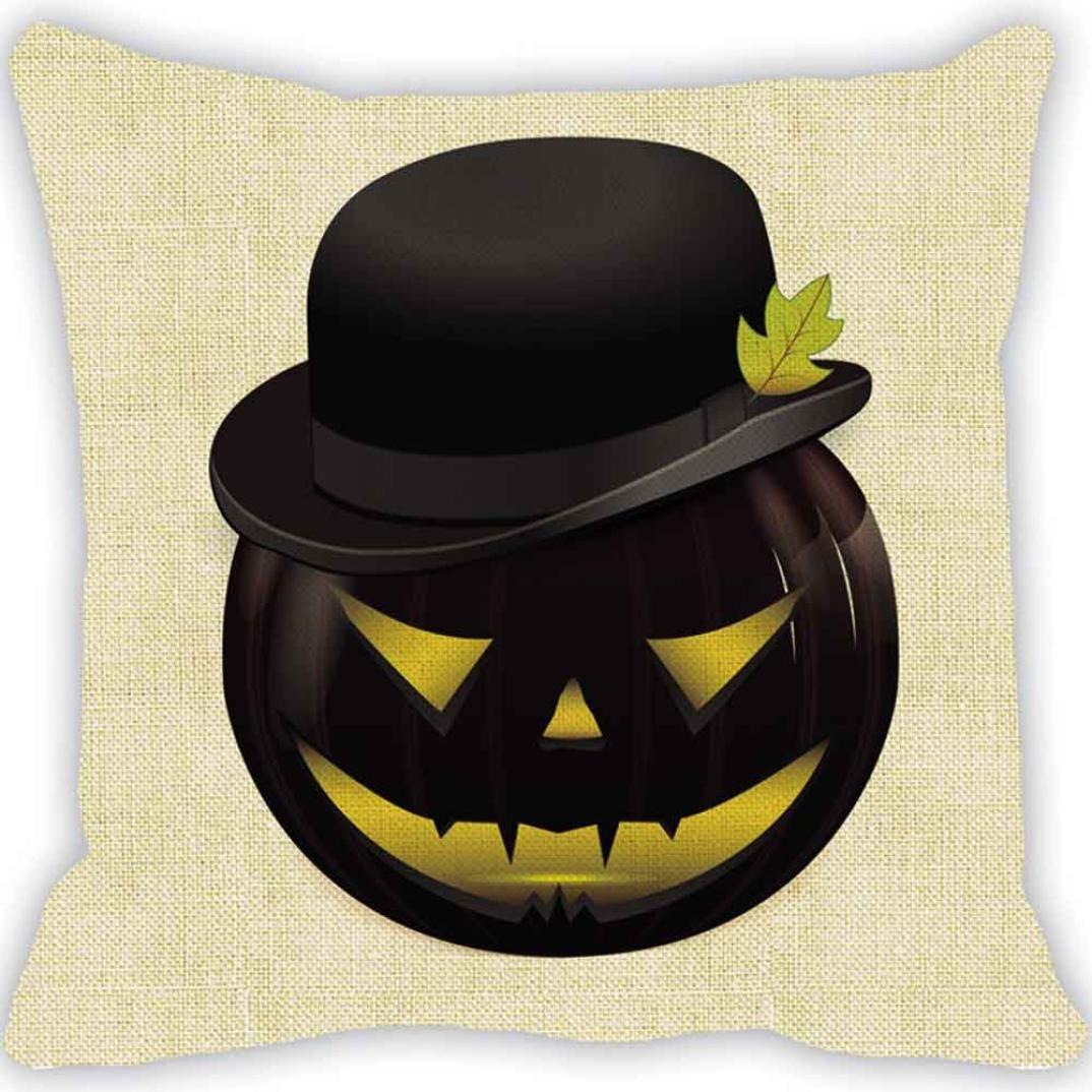 Pillow Case Neartime Halloween Pumpkin Square Pillow Cover Cushion Case Zipper Closure Pillowcase (Free, D)