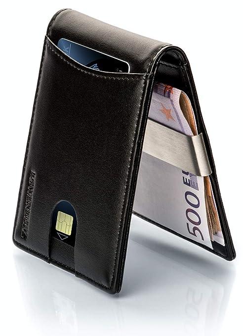 LØWENHERZ – Cartera negra piel plegable con tecnología de bloqueo RFID para hombre, billetera para