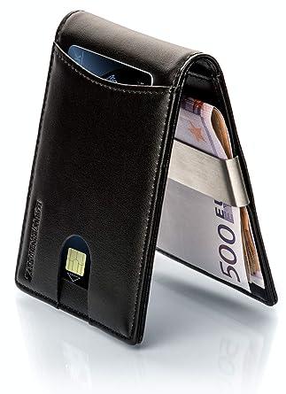 """ac1dac154f8dd3 LØWENHERZ ® Premium RFID Geldbeutel mit Geldklammer """"KHAN"""" Slim  Portemonnaie Wallet Leder Portmonaise"""