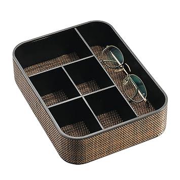 mDesign Elegante joyero con 6 Compartimentos ? Organizador de Joyas, Collares, Pulseras y más ? Caja organizadora, también para anteojos de Sol, ...