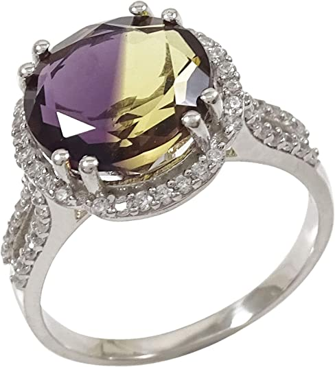 SPLENDID 1 CT AMETHYST 925 STERLING SILVER RING SIZE 5-10