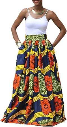 Zonsaoja Mujer Faldas Largas Elegantes Africa Flores Impresa ...