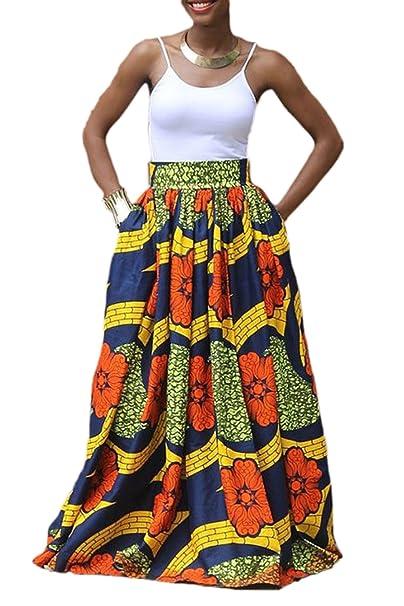 198b490cb0 Zonsaoja Mujer Faldas Largas Elegantes Africa Flores Impresa Fiesta Tallas  Grandes  Amazon.es  Ropa y accesorios