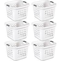 Sterilite 12178006 1.5 Bushel/53 Liter Ultra Square Laundry Basket, White Basket w/Titanium Inserts, 6-Pack