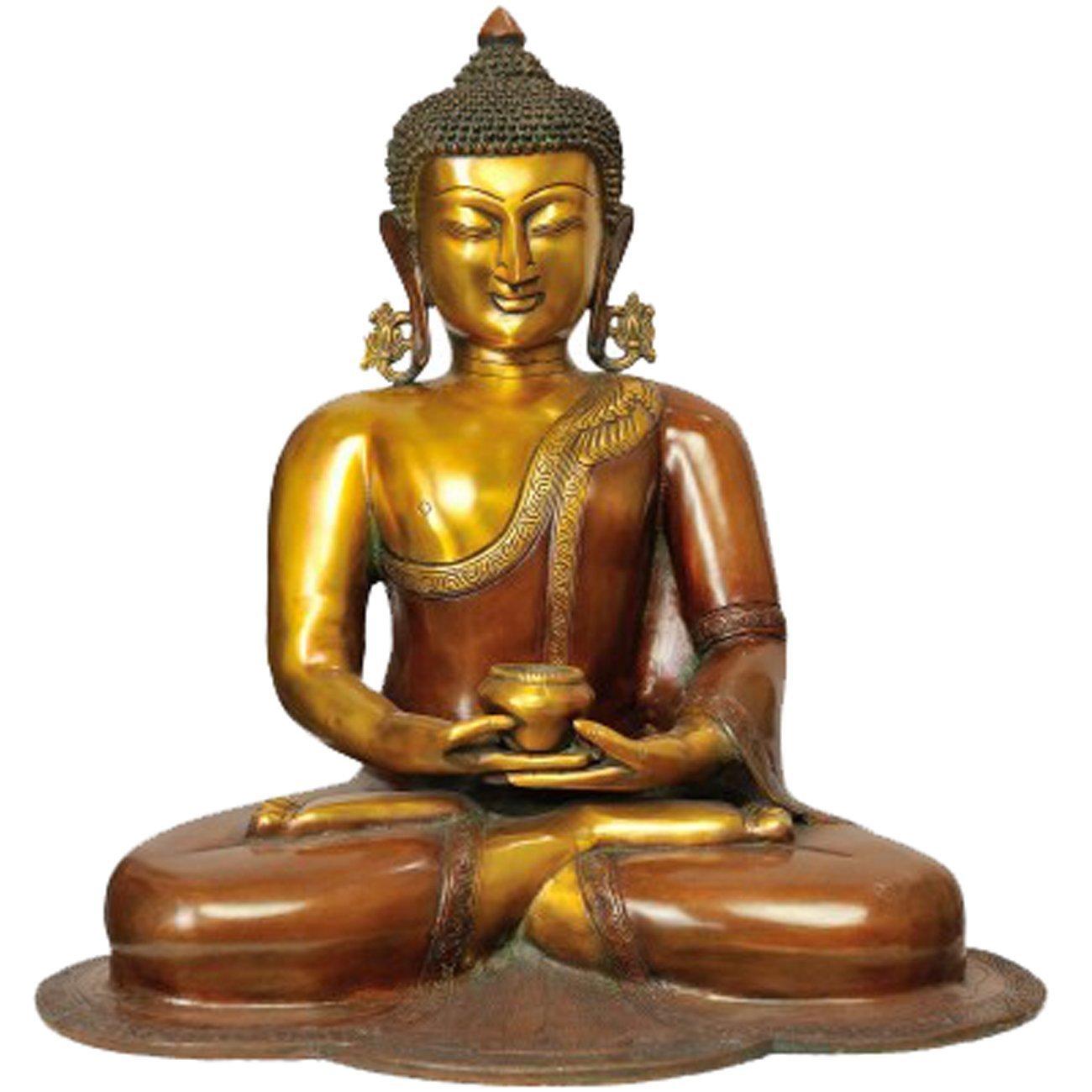 Idol Collections Vintage Meditating Buddha Brass Statue, Standard, Brown