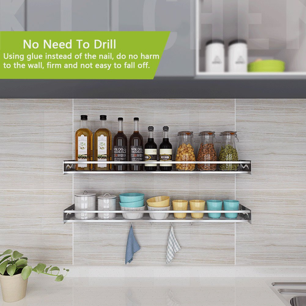 Amazon.com: HaloVa Kitchen Shelf, 304 Stainless Steel Wall Mounted ...