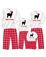 Personalized Llama Family Matching Christmas Adult Pajamas & Kids Playwear - Mama Llama, Papa Llama, etc