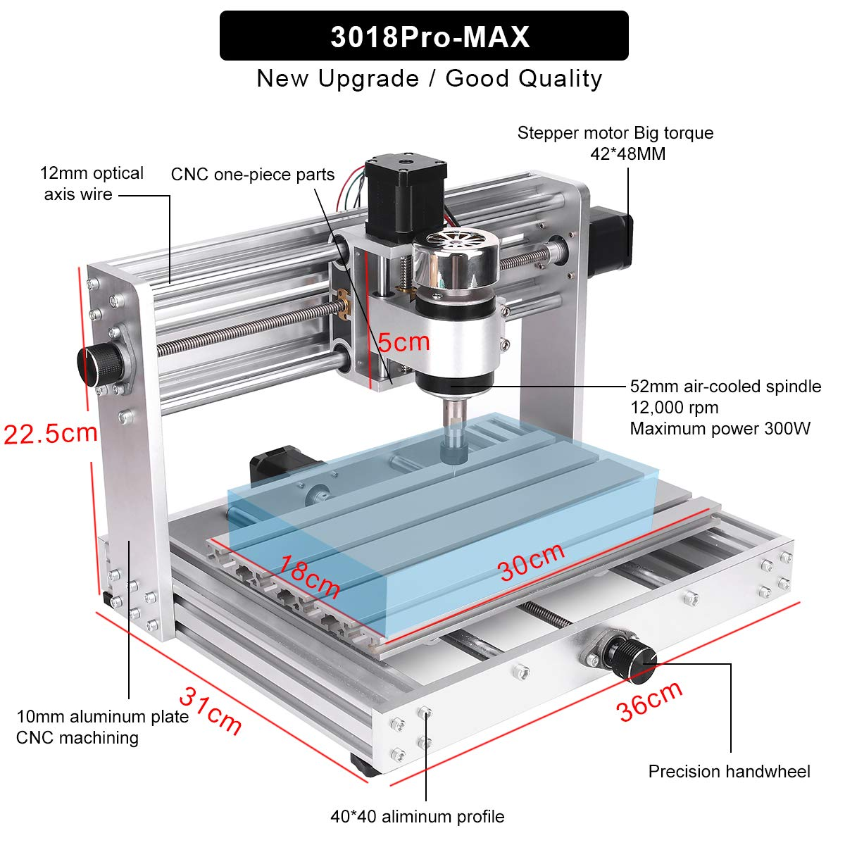Wood Router Engraver with Offline Controller with ER11 and 5mm Extension Rod MYSWEETY CNC 3018Pro MAX Engraver with 200W Spindle 3 Axis Pcb Milling Machine GRBL control DIY CNC machine