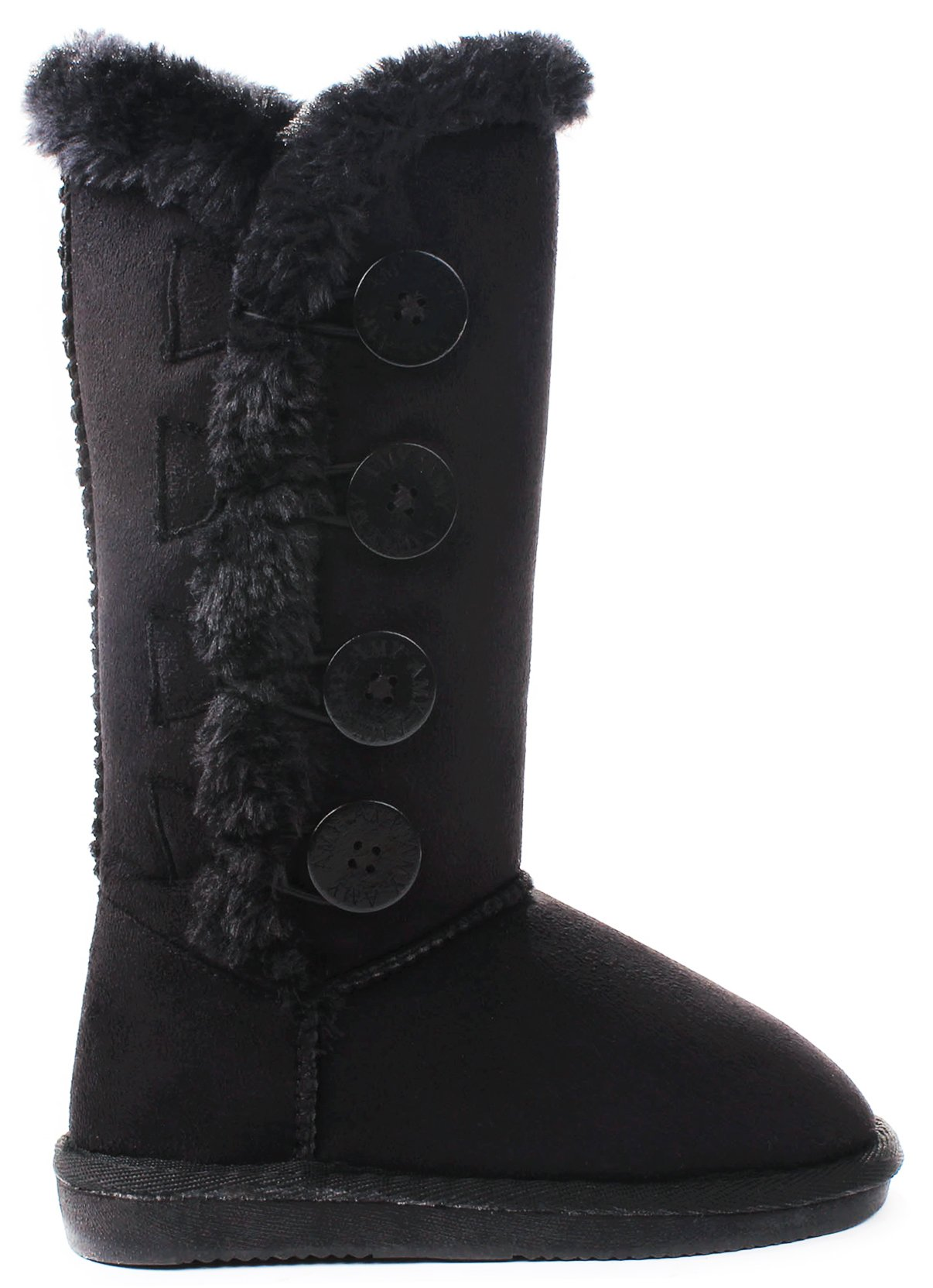 Kids Girls Amy Black Wooden Button Faux Fur Lined Shearling Mid Calf Winter Boots-12