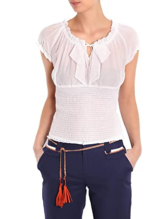b66ae77995e Morgan - Top - Uni - Femme - Blanc(Écru) - 38  Amazon.fr  Vêtements ...