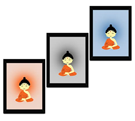 Tied Ribbons Buddha Wooden Framed Poster Home Interior Wall