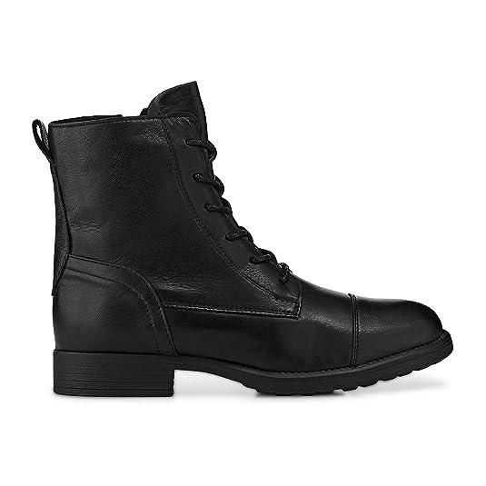 Cox Damen Damen Schnür-Boots aus Leder, Stiefeletten in Schwarz mit robuster Laufsohle