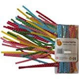 50 Polka Dot Twist Ties For Cone Party Bags Cello Cellophane Bags Assorted Colours