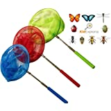 Kids Butterfly and Bug Net Set: Catching Butterflies Insects Bugs Small Fish, Extendable and Anti Slip Grip, Perfect Toy Gift
